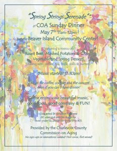COA Sunday Dinner & 'Spring Strings Serenade'! @ Beaver Island Community Center | Beaver Island | Michigan | United States