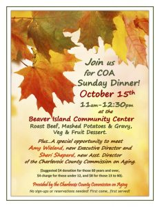 Charlevoix County Commission on Aging Sunday Dinner @ Beaver Island Community Center